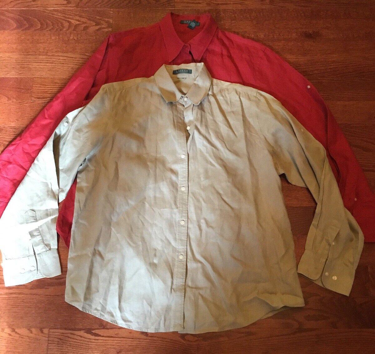 Lauren Ralph Lauren damen's Größe XL Lot of 2 Linen Button-Down Blouse Shirts