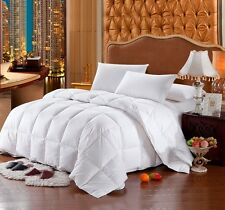 FULL / QUEEN White Stripe Siberian GOOSE DOWN Comforter 1200 TC Egyptian Cotton