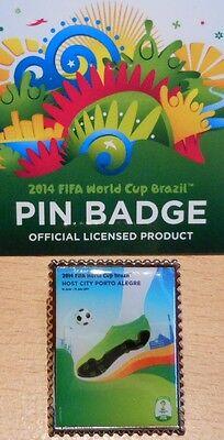 Pin + Plakat Motiv 4 + 2014 FIFA World Cup Brazil + 3,0x2,5 cm + OVP Lizenz #16