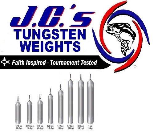1ea Quantities Bulk Pricing JCs Tungsten Drop Shot Weight 1//4oz Skinny