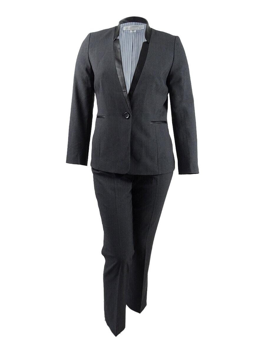 Tahari ASL Kvinnlig Faux -läder -Trim Pantsuit