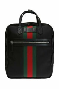 43e77493830 Gucci Black Canvas With Green and Red Web Stripe Satchel Backpack 495558