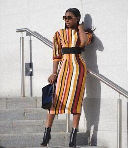 cd77a8c0cff1 Zara Studio Orange Black Striped Midi Dress Belt Aw17 Size M Medium