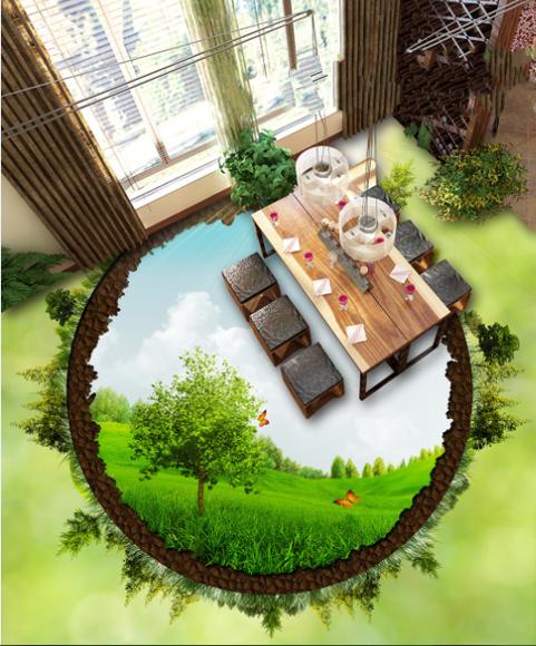 3D Round Grün tree 2352 Floor WallPaper Murals Wall Print Decal 5D AJ WALLPAPER
