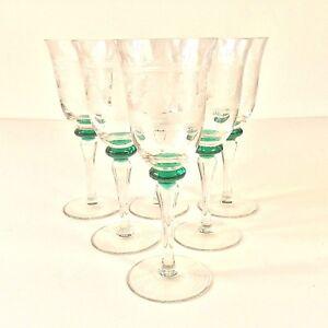 SET-6-ETCHED-FIGURES-CLEAR-GLASS-GREEN-KNOB-STEM-GOBLETS-XL-WINE-GLASSES-VTG-8-034-H