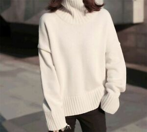 Details about New Women's Thick Cashmere Sweater Korean Turtleneck Loose Short Jumper Tops
