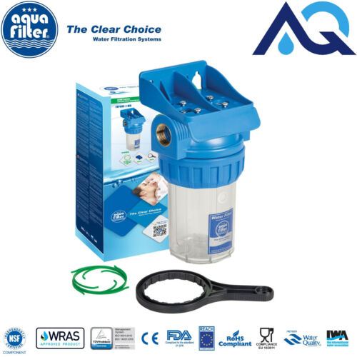 """Aquafilter 5/"""" In-Line Set tre pezzi Alloggiamento Filtro Acqua 3//4/"""" /""""IN OTTONE fhpr 5-34-WB"""
