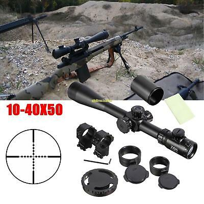 Rifle Scope 10-40x50 ESF Mil-Dot Red Reticle Telescope Hunting Extreme Tactical