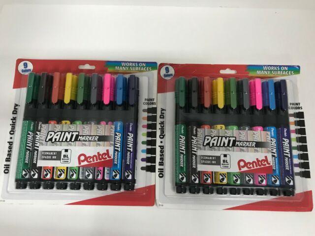 2 Pkg Pentel Paint Marker Oil Based Quick Dry Permanent Opaque Ink 9 Colors 3 0