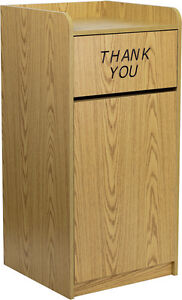wood tray top trash receptacle bin oak finish restaurant fast food cafeteria. Black Bedroom Furniture Sets. Home Design Ideas