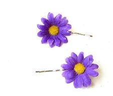 2 x Purple Daisy Flower Hair Grips Clips Bridesmaid Bobby Pins Slides Boho 1786
