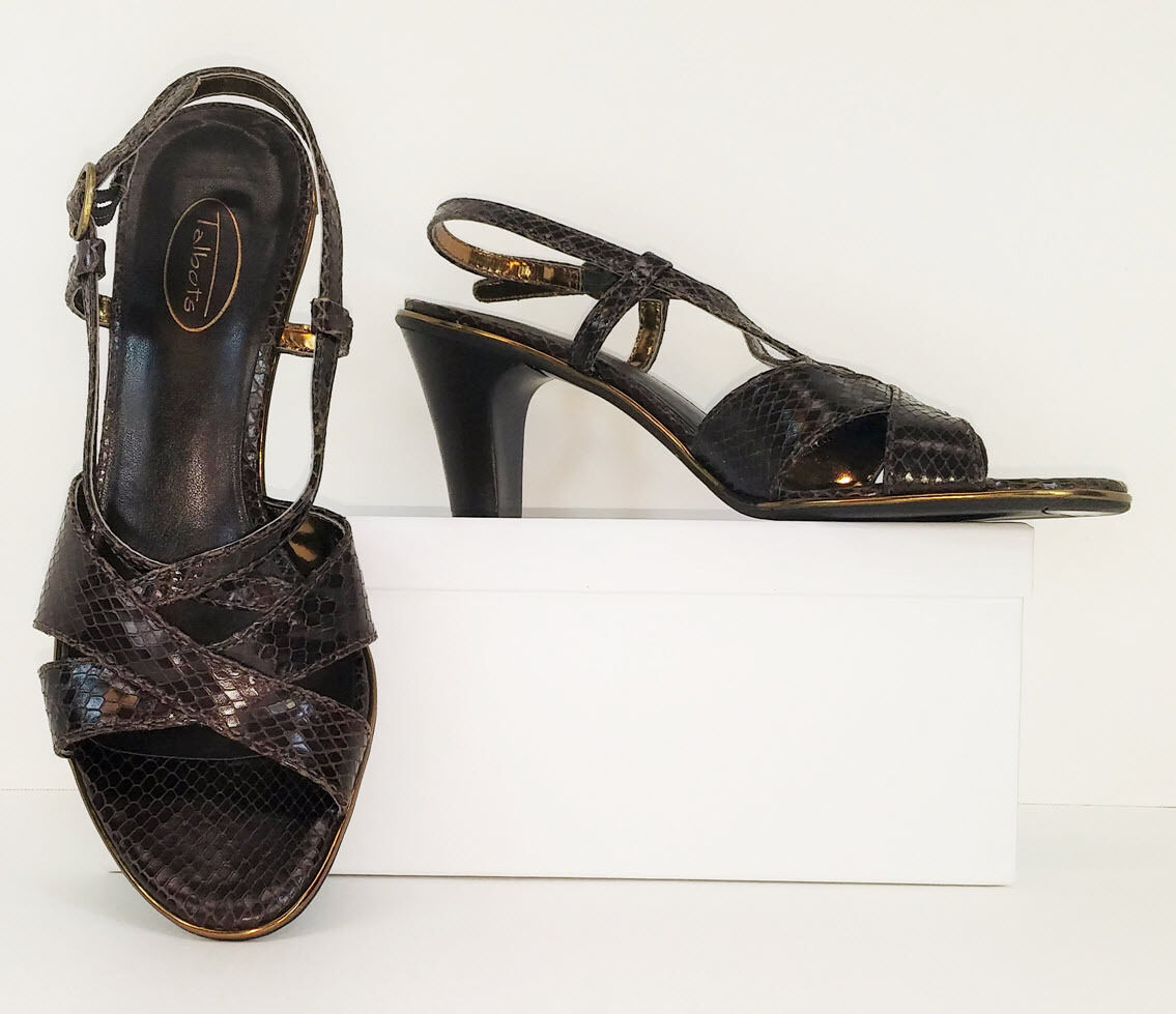 Talbots Brown Leather Open Toe Dress Sandals High Heels Pumps shoes 9 B (S270)