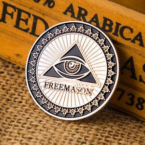 Masonic-Freemason-Silver-Plated-Commemorative-Coin-Token-Collectible-Physical-AB
