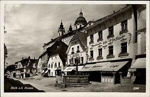 Melk-an-der-Donau-Niederoesterreich-s-w-AK-1940-Konditorei-Cafe-Tatzel-Brunnen