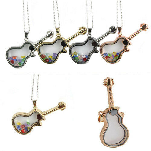 New Design Living Memory Floating Charms Glass Guitar Locket Pendant Necklace