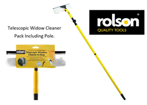 Rolson Tools 61007 Telescopic Window Cleaner /& Mop {Pack included 3.3m Pole}