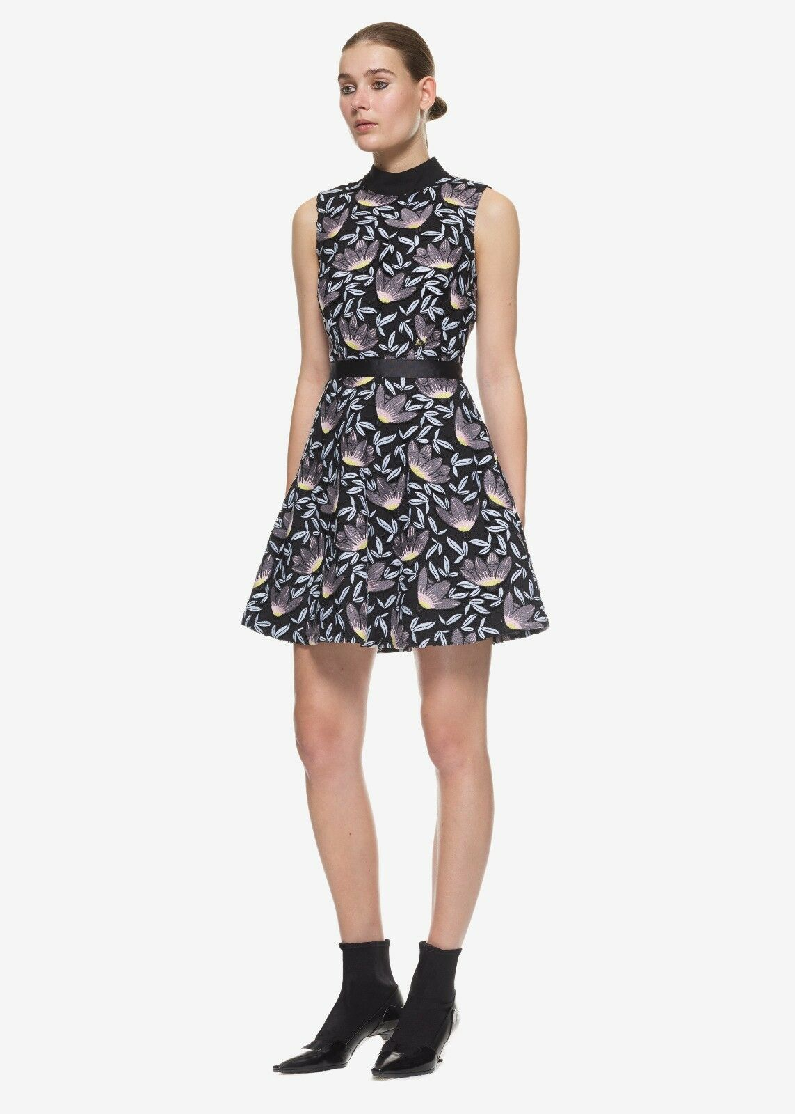 Self Portrait 4 Baby bluee Peony Fit & Flare Lace Embroidered Mini Dress