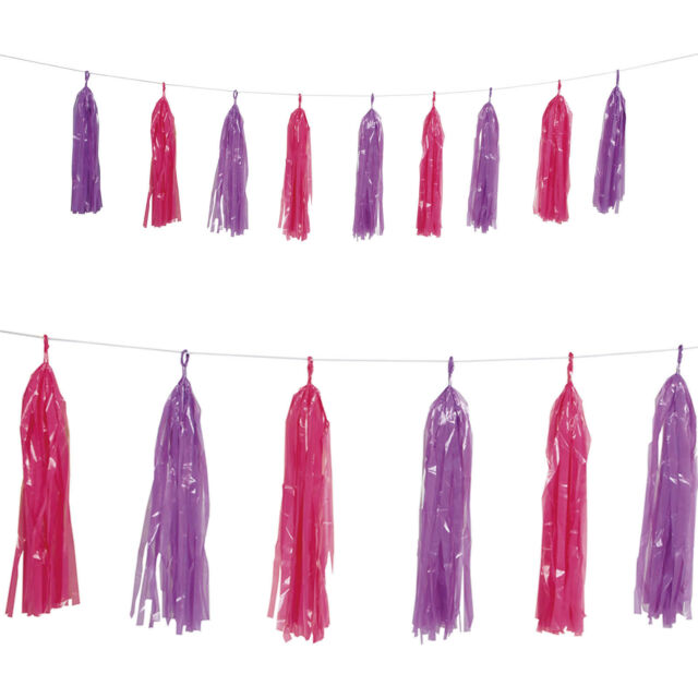 9ft Pink Purple Birthday Baby Shower Party Plastic Tassel Garland Decoration