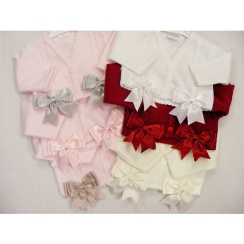 Gorgeous Kinder Baby Girl White/Pink Knitted Bolero Two Satin Bows/Romany