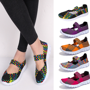 Womens-Flat-Woven-Elasticated-Mixed-Color-Shoes-Slip-On-Pumps-Casual-Loafers-Sz