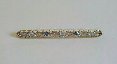14 K Gold Art Déco Filigraner Bar Pin, Diamanten & Blauer Topas QualitäT Zuerst