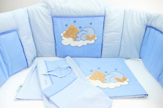 Easy Baby Bettset Sleeping Bear blau Himmel Nestchen Bettwäsche 40x60/100x135