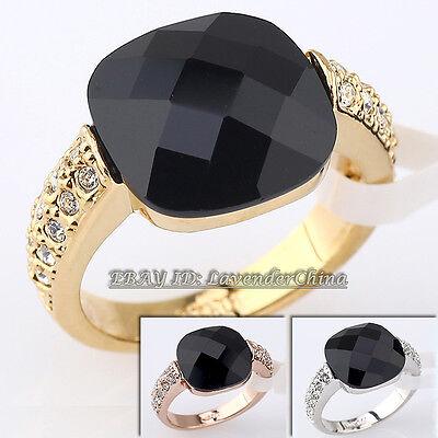 A1-R064 Fashion Simulated Onyx Ring 18KGP Rhinestone Crystal Size 5.5-9