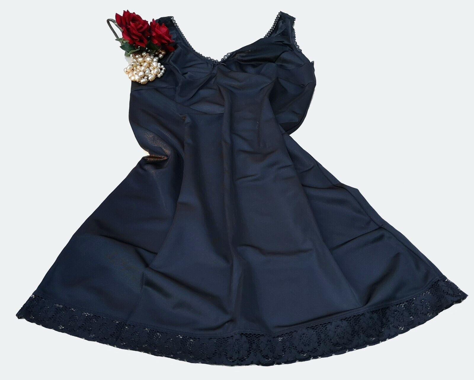 "Black Knee Length Underskirt Ladies Petticoat Slip Anti-Static Size 34/"" BU34"