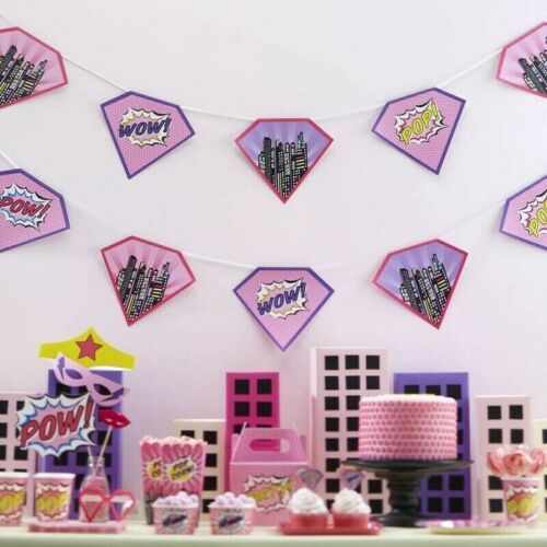 Pink Paper Bunting POP ART Banner Garland Superhero Girls Birthday Party Decorat