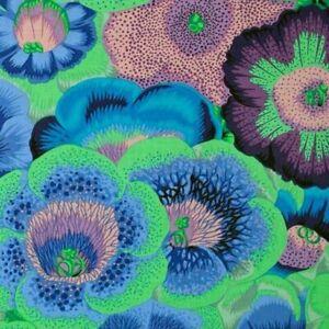 56-034-Remnant-Rowan-Phillip-Jacobs-Gloxinias-Lge-Scale-Floral-Fabric-PWPJ071-Blue