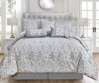 [30%OFF!] 7PCS  Jacquard Comforter/Coverlet/Bedspread/Quilt Set LK205-Grey