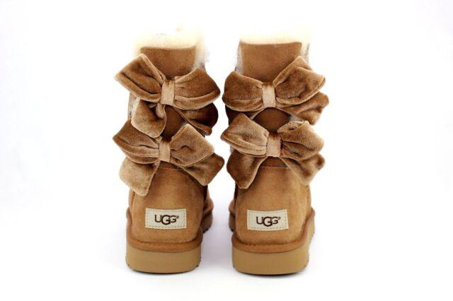248ce2b275d UGG Bailey Bow II Velvet Ribbon Chestnut Suede Sheepskin BOOTS Size US 9