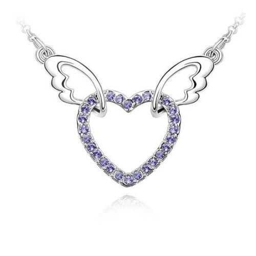 Angel Wings Collier Pendentif Coeur Love Cristaux Bijoux pour sa femme Maman Cadeau