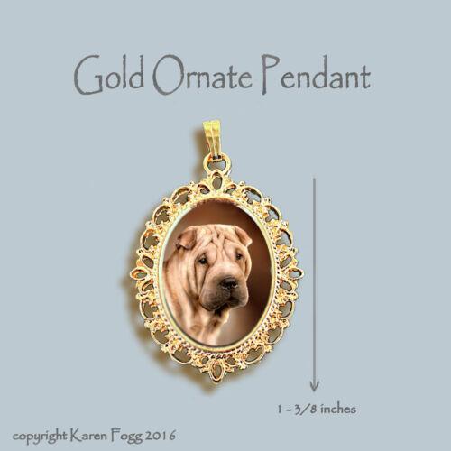 ORNATE GOLD PENDANT NECKLACE SHAR PEI DOG