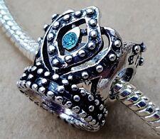 Disney Frozen Queen ELSA Blue Rhinestone Crown Bead fit European Charms Bracelet