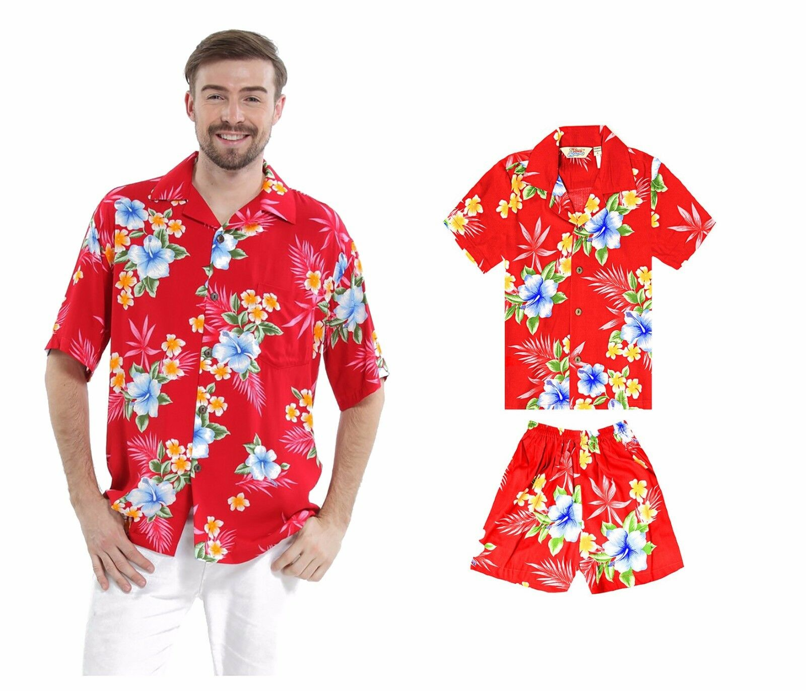 Father Son Matching Aloha Shirts Hawaiian Dance Luau Party Cruise Hibiscus Red