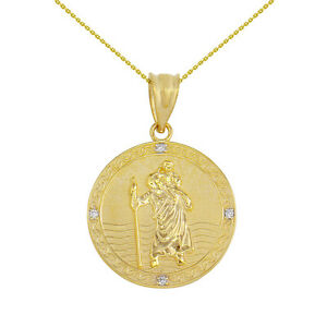 "Details about  /10k Two Tone Yellow Gold Diamond Saint Christopher Circle 1/"" Pendant Necklace"