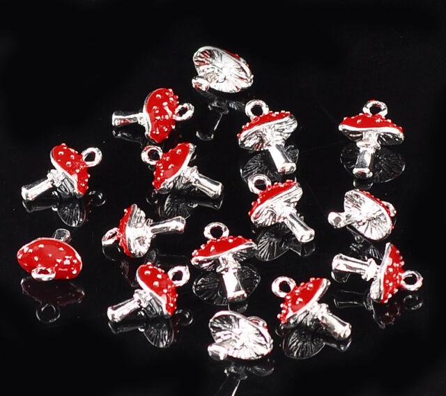 """10PCs Silver Plated Enamel Red Mushroom Charm Pendants 15x11mm(5/8""""x3/8"""")"""