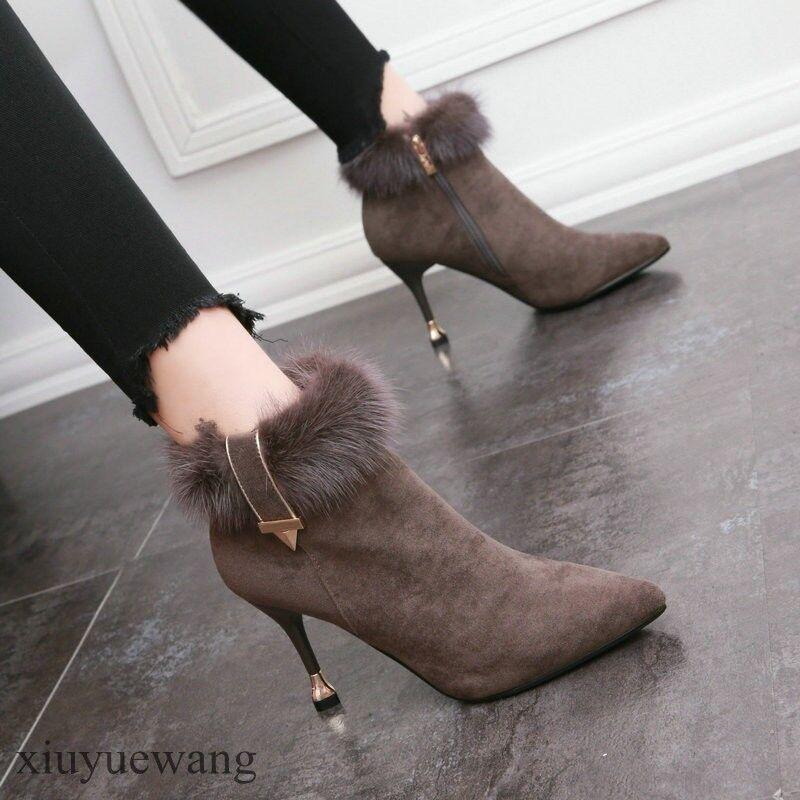 Zapatos de fiesta de Moda para mujer de Piel peludos Gamuza Puntera Puntiaguda Cremallera Lateral Tobillo botas Tacones