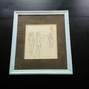 Drawing ink and wash curiosa nude dayelle de terronblan scene galante signed