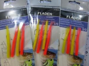 3 X FLADEN WHITE FEATHER RIGS 6 HOOK SIZE 2//0 BOAT SEA FISHING MACKEREL COD