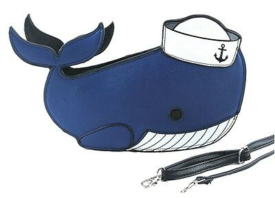 Sleepyville Critters Sailor Whale Cross Body Shoulder Bag Handbag Purse