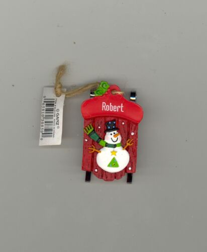 Ganz Snowman Sleigh Sled Ornament Personalized /'ROBERT/'  Stocking Stuffer NWT