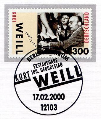 2100 Mit Dem Berliner Ersttags-sonderstempel 1610 Seien Sie In Geldangelegenheiten Schlau Brd 2000: Kurt Weill Nr 1a