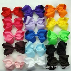15pcs-5-5-034-Big-Hair-Bows-Boutique-Girls-Baby-Alligator-Clip-Grosgrain-Ribbon