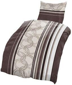 4 Tlg Biber Bettwäsche 135x200 Cm Streifen Kreise Braun Beige