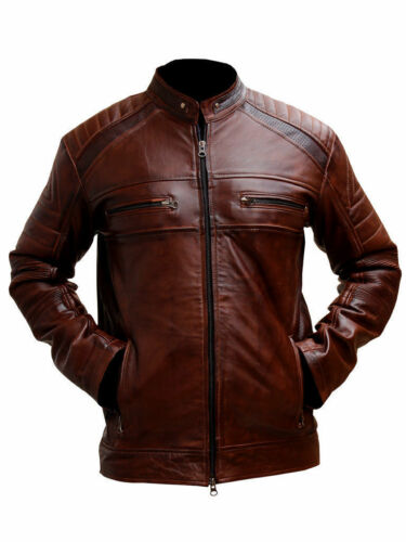 Jacket Leather Mens Distressed Motorcycle Vintage Brown Cafe Racer Biker qHw8z