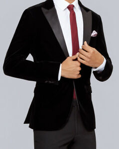 25d4c9c91eb MEN'S VELVET DINNER JACKET BLACK OR NAVY TUXEDO - MATCHING WAISTCOAT ...