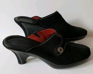 0a76dd9567059 Cole Haan Devon Black Suede Clog with Silver Logo Heels Mules Slides ...
