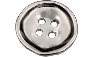 Argent métal Boutons plats 4 trous Charmant défectueux Forme 6 pièces